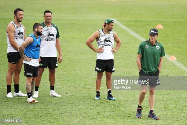 New South Sydney Rabbitohs Coach Wayne Bennett walks away after speaking with Sam Burgess John Sutton Adam Reynolds and Cody Walker during a Sydney...