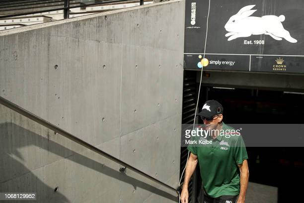 New South Sydney Rabbitohs Coach Wayne Bennett walks out of the tunnel during a Sydney Rabbitohs training session at Redfern Oval at Redfern Oval on...