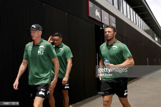 New South Sydney Rabbitohs Coach Wayne Bennett walks with John Sutton and Sam Burgess to the media for an NRL press conference at Redfern Oval at...