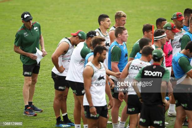 New South Sydney Rabbitohs Coach Wayne Bennett watches on during a Sydney Rabbitohs training session at Redfern Oval at Redfern Oval on December 4...