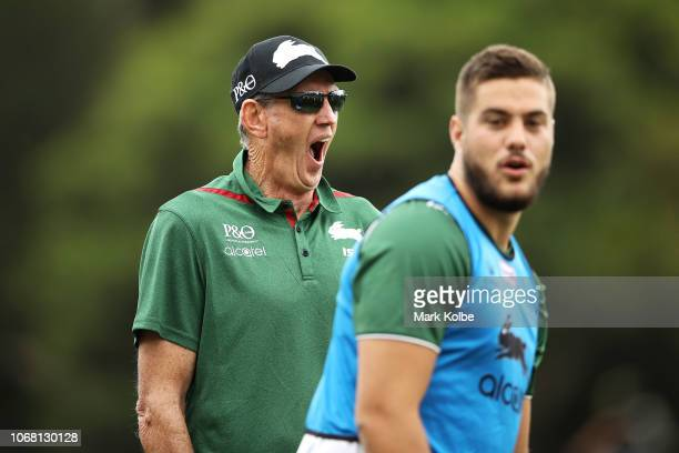 New South Sydney Rabbitohs Coach Wayne Bennett yawns as he watches on during a Sydney Rabbitohs training session at Redfern Oval at Redfern Oval on...
