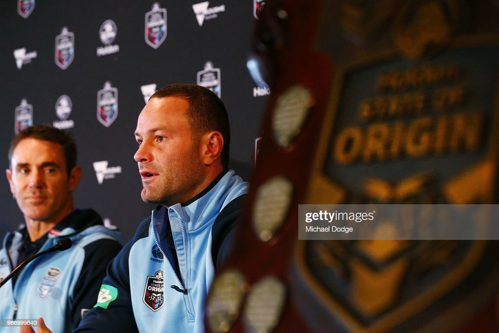 , New South Wales Blues Captain Boyd Cordner speaks to media during a State of Origin media opportunity at Melbourne Cricket Ground on June 4, 2018 in Melbourne, Australia.