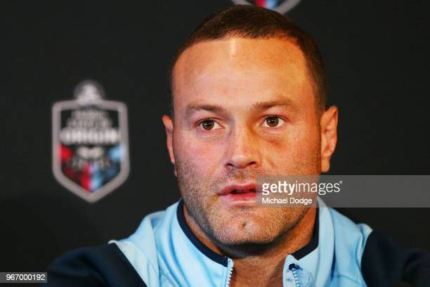 New South Wales Blues Captain Boyd Cordner speaks to media during a State of Origin media opportunity at Melbourne Cricket Ground on June 4 2018 in...