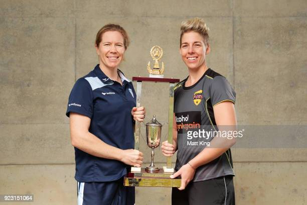 New South Wales captain Alex Blackwell and Western Australia captain Elyse Villani pose with the WNCL trophy during a WNCL Final Media Opportunity at...