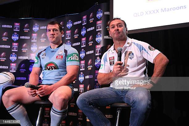 New South Wales captain Paul Gallen and coach Ricky Stuart talk to the media during a State of Origin press conference at Etihad Stadium on May 21...