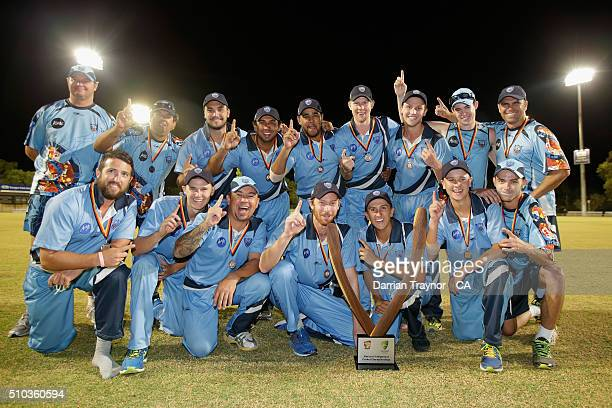 New South Wales celebrate winning the National Indigenous Cricket Championships on February 15 2016 in Alice Springs Australia