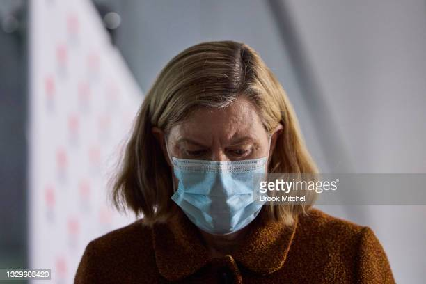 New South Wales Chief Health Officer Kerry Chant departs a COVID-19 update on July 20, 2021 in Sydney, Australia. Lockdown restrictions have been...