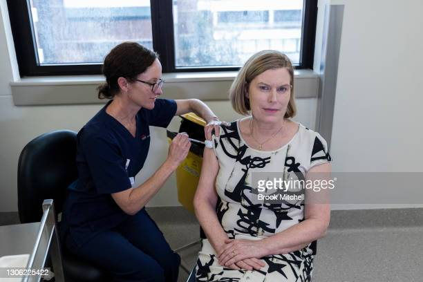New South Wales Chief Health Officer Kerry Chant receives the AstraZeneca vaccine at at St George Hospital in Kogarah on March 10, 2021 in Sydney,...