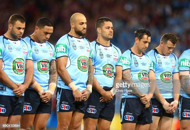 New South Wales line up before game one of the State Of Origin series between the Queensland Maroons and the New South Wales Blues at Suncorp Stadium...