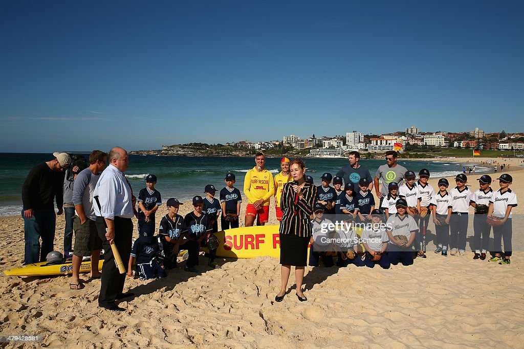 New South Wales Minister for Sport Gabrielle Upton introduces Tim Federowicz, Drew Butera, Chris Withrow and Mike Baxter of the Los Angeles Dodgers to players from Illawong and St John Bosco little league during a Los Angeles Dodgers players visit at Bondi Beach on March 19, 2014 in Sydney, Australia.