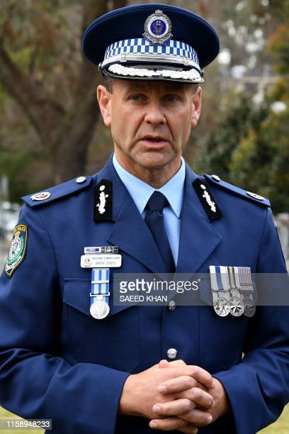 New South Wales Police assistant commissioner Mark Jones briefs media following a memorial service for Australian murder victim Lucas Fowler who was...