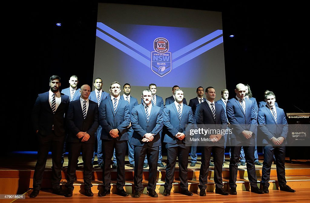 New South Wales pose on stage during the New South Wales Blues State of Origin team announcement at Revesby Workers Club on June 30, 2015 in Sydney, Australia.