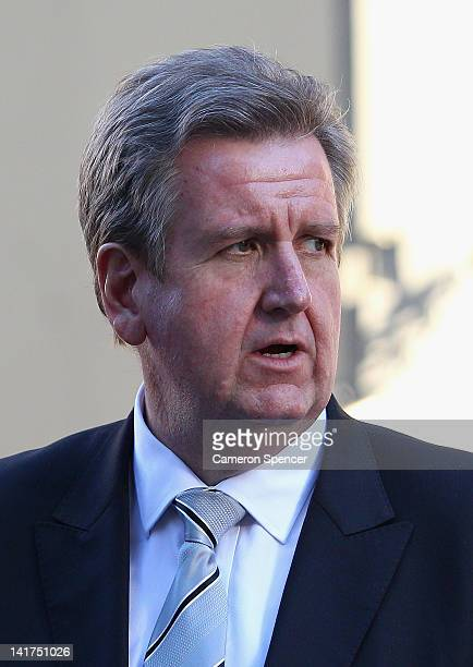 New South Wales Premier Barry O'Farrell attends the memorial service for Margaret Whitlam at St James Anglican Church on March 23 2012 in Sydney...