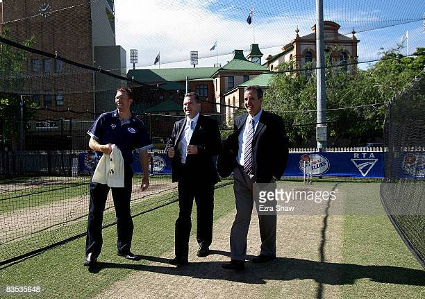 New South Wales Premier Nathan Rees speaks with Blues captain Dominic Thornely and Cricket NSW Chief Executive Officer David Gilbert during a...