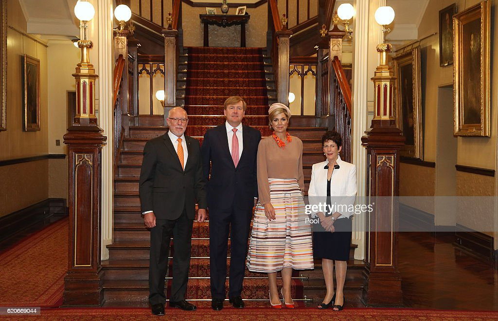 New South Wales State Governor David Hurley, King Willem-Alexander of the Netherlands, Queen Maxima of The Netherlands and Linda Hurley pose at Government House on November 03, 2016 in Sydney, Australia. The Dutch King and Queen are in Australia to commemorate the 400th anniversary of the landing of Dutch explorer Dirk Hartog in Western Australia.