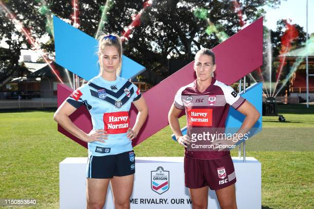 New South Wales State of Origin player Kezie Apps and Queensland State of Origin player Ali Brigginshaw pose during the Women's State of Origin...