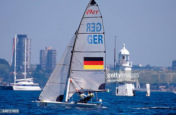 New South Wales Sydney Olympic Summer Games 2000 start of the olympic High Performance boat category 49 with er German team Marcus Baur and Philip...