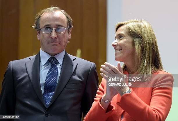 New Spanish Health Social Services and Equality Minister Alfonso Alonso poses with former Minister of Health Social Services and Equality Ana Mato...
