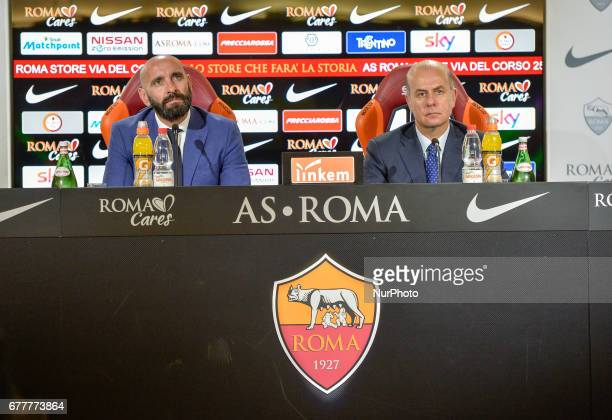 New Sporting Director Ramon Rodriguez Verdejo Monchi and AS Roma CEO Umberto Gandini attend an AS Roma press conference on May 3 2017 in Rome Italy