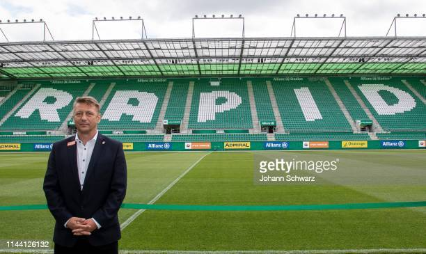 New sports director Zoran Barisic of Rapid in the Stadion during SK Rapid Wien Press Conference at Allianz Stadion on May 17, 2019 in Vienna, Austria.