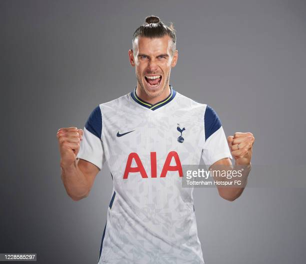 New Spurs signing Gareth Bale poses for a portrait as he is unveiled on September 18, 2020 in Enfield, England.
