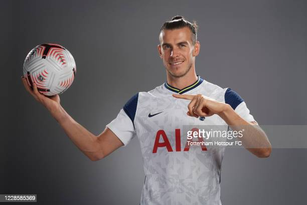 New Spurs signing Gareth Bale poses for a portrait as he is unveiled on September 18 2020 in Enfield England