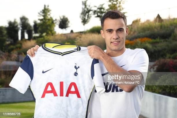 New Spurs signing Sergio Reguilon poses for a portrait as he is unveiled on September 18, 2020 in Enfield, England.