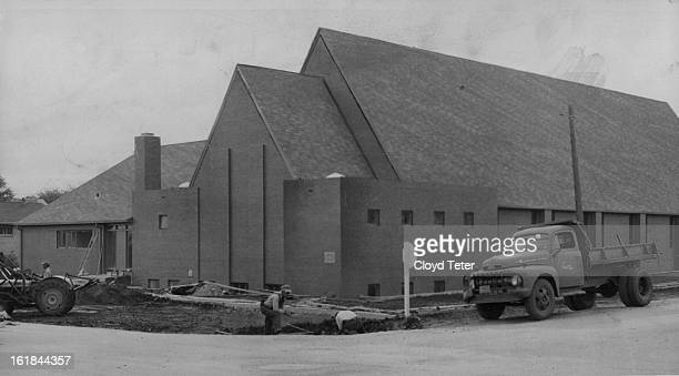 OCT 31 1957 NOV 2 1957 New St Haul's to Replace the Old Workmen put finishing touches on the new St Paul's Episcopal Church in Lakewood Right Rev...