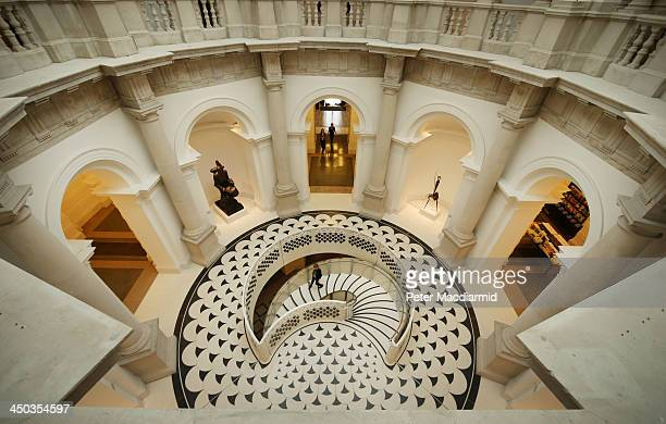 A new staircase has been installed in the Rotunda at Tate Britain on November 18 2013 in London England Architects Peter St John and Adam Caruso have...