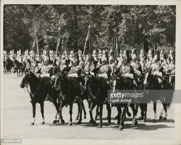 New Standards for Household Cavalry HM The Queen and the Duke of Edinburgh used an open coach to drive in brilliant sunshine to the Horse Guards...