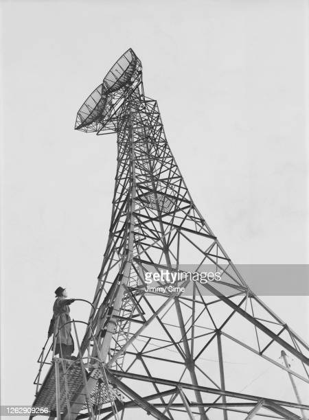 A new steel lattice tower on top of the Museum telephone exchange in London sending television signals to the Midlands 23rd November 1949 The signal...