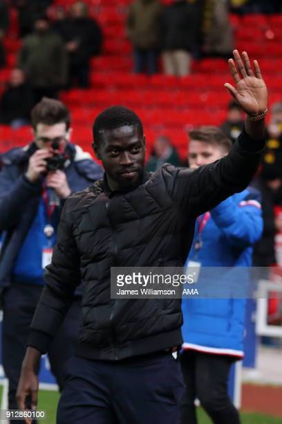 New Stoke City signing Badou Ndiaye during the Premier League match between Stoke City and Watford at Bet365 Stadium on January 31 2018 in Stoke on...