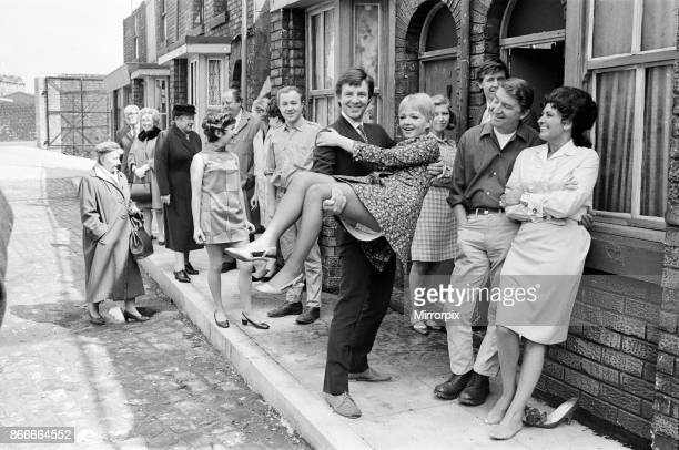 New street setting for 'Coronation Street'. Granada TV have built an outdoor set for shooting some of the scenes. Pictured are cast members: Cast...