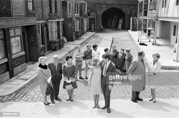 New street setting for 'Coronation Street'. Granada TV have built an outdoor set for shooting some of the scenes. Pictured are cast members: Gerry...