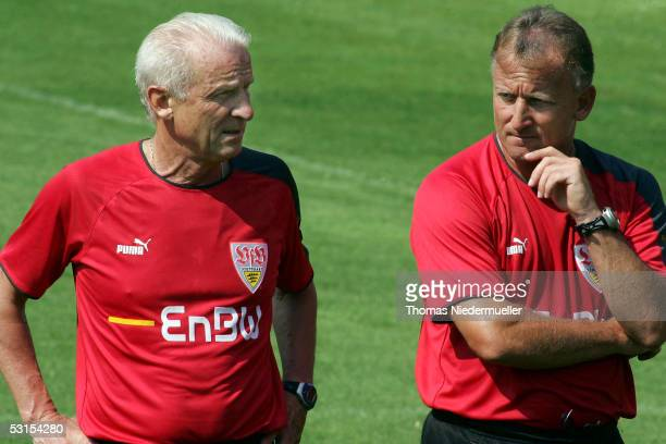 New Stuttgart coach Giovanni Trapattoni and his new assistant coach Andreas Brehme look on during the first training session of the Bundesliga season...