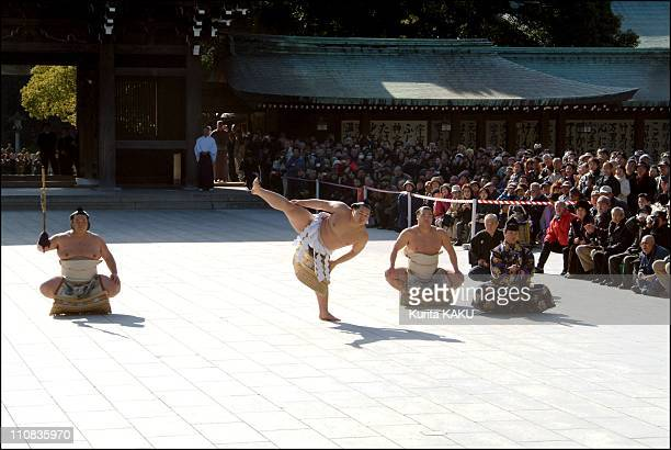 New Sumo 68Th Grand Champion Is Mongolia'S Asashoryu Whose Real Name Dolgorsuren Dagvadori Entering Meiji Shirne For The Traditional Ceremony In...