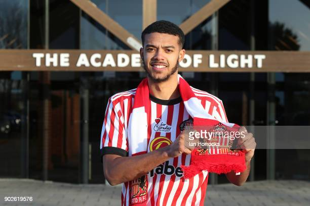 New Sunderland loan signing Jake ClarkeSalter holds up a club scarf after being unveiled at The Academy of Light on January 8 2018 in Sunderland...