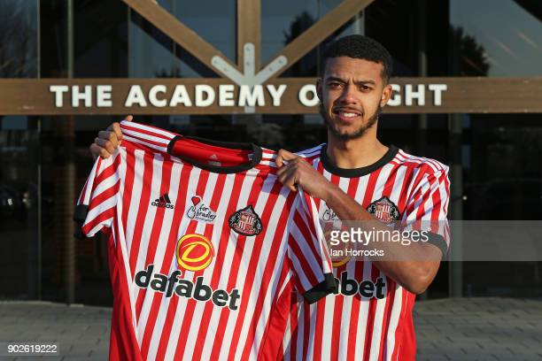 New Sunderland loan signing Jake ClarkeSalter holds up a club shirt after being unveiled at The Academy of Light on January 8 2018 in Sunderland...