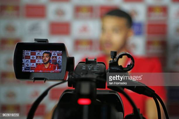 New Sunderland loan signing Jake ClarkeSalter is interviewed after being unveiled at The Academy of Light on January 8 2018 in Sunderland England
