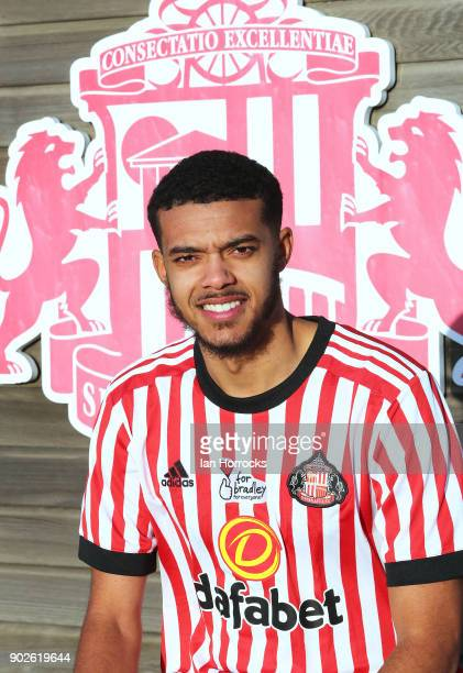 New Sunderland loan signing Jake ClarkeSalter is unveiled at The Academy of Light on January 8 2018 in Sunderland England