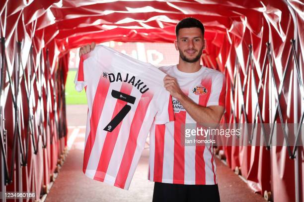 New Sunderland loan signing Leon Dajaku poses in the tunnel at the Stadium of Light after moving from Bayern Munich on August 31, 2021 in Sunderland,...