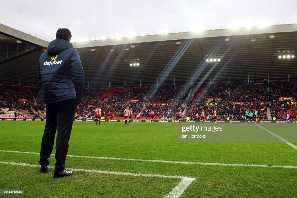 New Sunderland manager Chris Coleman takes in his first home game during the Sky Bet Championship match between Sunderland and Reading at Stadium of Light on December 2, 2017 in Sunderland, England.