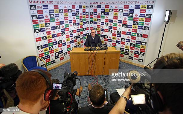 New Sunderland manager Dick Advocaat during a Sunderland AFC press conference at The Academy of Light on March 20 2015 in Sunderland England