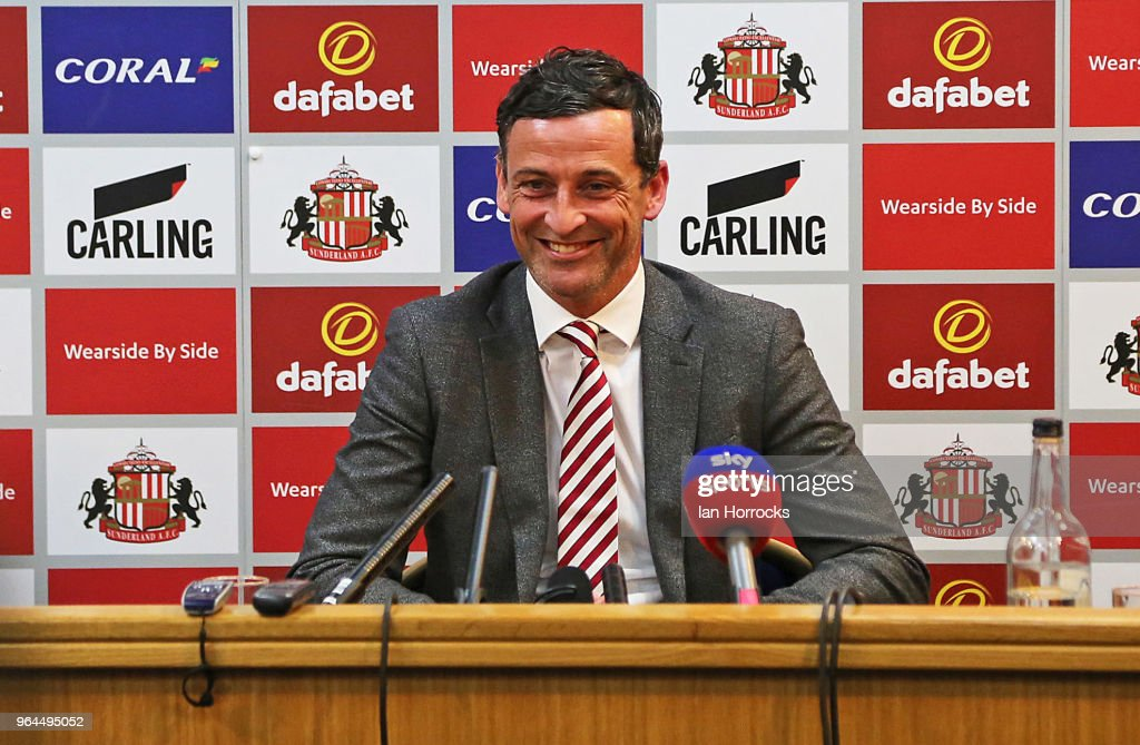 New Sunderland manager Jack Ross takes questions at his press conference at the Academy of Light during his first day at work on May 31, 2018 in Sunderland, England.