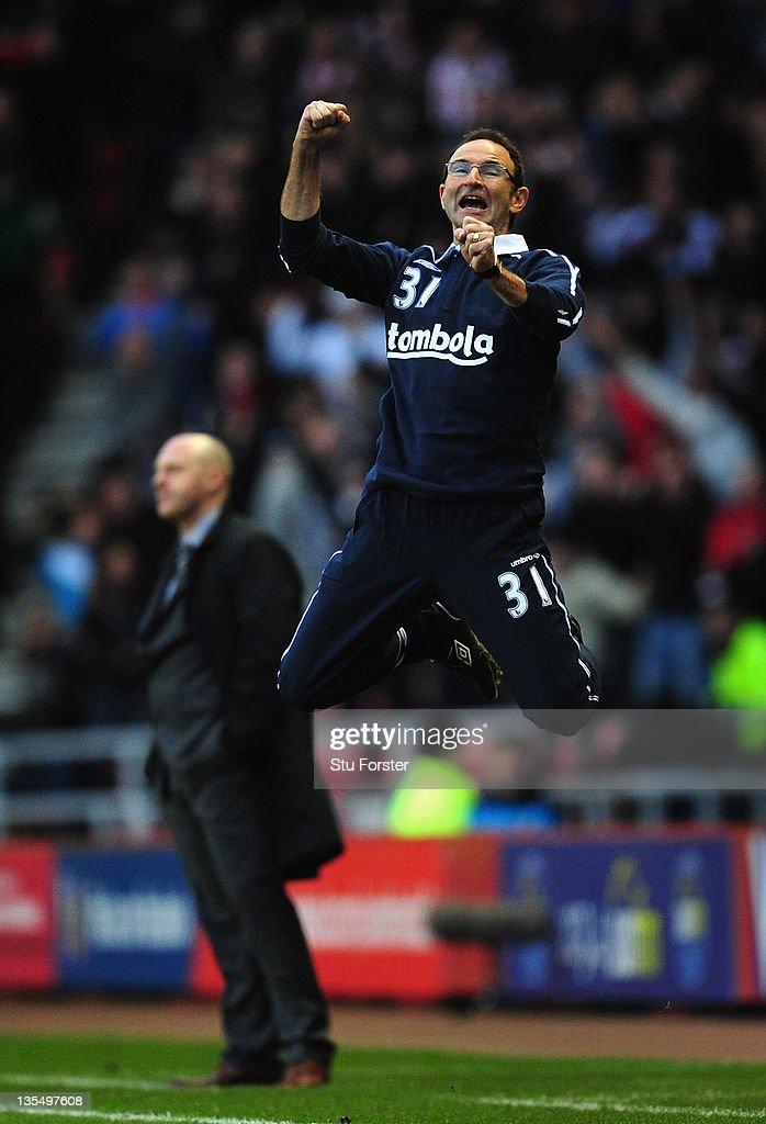 New Sunderland manager Martin O' Neill reacts after Sunderland equalise during the Barclays premier league game between Sunderland and Blackburn Rovers at Stadium of Light on December 11, 2011 in Sunderland, England.