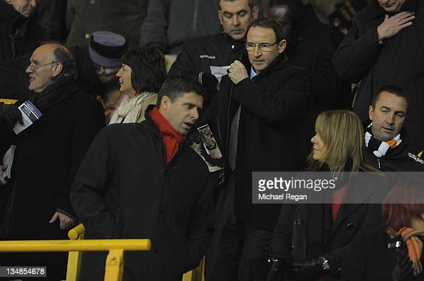 New Sunderland manager Martin O'Neill looks on from the stands during the Barclays Premier League match between Wolverhampton Wanderers and...