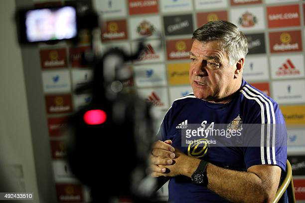 New Sunderland manager Sam Allardyce is interviewed by club media at The Academy of Light on October 13 2015 in Sunderland England