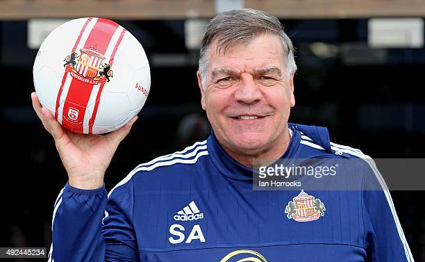 New Sunderland manager Sam Allardyce poses for pictures during a press conference at The Academy of Light on October 13, 2015 in Sunderland, England.