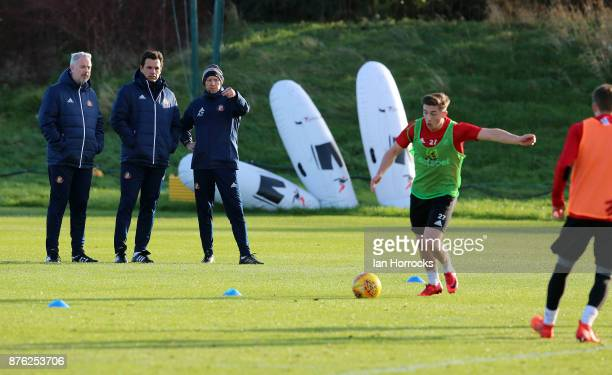 New Sunderland manger Chris Coleman takes his first training session with coach Kit Symons and goal keeping coach Adrian Tucker at The Academy of...