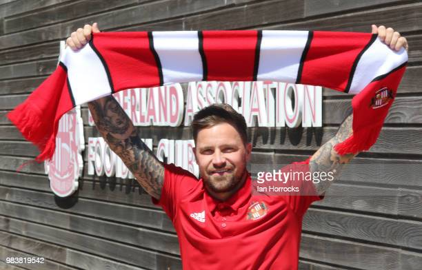 New Sunderland signing Chris Maguire poses for a picture at The Academy of Light on June 25, 2018 in Sunderland, England.